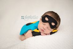 Captain Baby/ Baby Boy Super Hero Newborn Prop Set/ Blue/ Cape, Mask, Wristlets/ Custom Made to Order/ Photo Prop $35.00