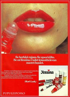 Muoti + Kauneus 70-luvulta - Yessina 1970s Decor, Good Old Times, Vintage Ads, Hair Ties, Finland, Childhood Memories, Historia, Makeup, Nostalgia