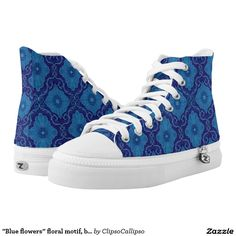 """""""Blue flowers"""" Printed Shoes by ClipsoCallipso #blue, #navy+blue, #dark+blue, #royal+blue, #cerulean, #azure, #cobalt, #ultramarine, #lapis, #floral, #flower, #pattern, #bohemian, #ornament, #ornamental, #decorative, #trendy, #70s, #arabesque, #whimsical, #eastern, #luxurious, #palatial, #plush, #saturated, #colorful, #magnificent, #gorgeous, #splendid, #seamless, #shades+of+blue, #vintage, #design, #motif, #medallion, #flourishing, #blooming, #bloom, #higtop+shoes,"""