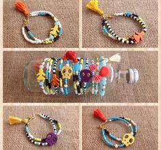 bracelets, pearlybow, summer, tassels, skulls, handmade Skulls, Tassels, Handmade Jewelry, Beaded Bracelets, Charmed, Summer, Handmade Jewellery, Summer Recipes, Tassel
