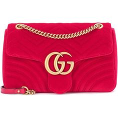 Gucci GG Marmont Mini Velvet Shoulder Bag (€1.625) ❤ liked on Polyvore featuring bags, handbags, shoulder bags, red, mini handbags, shoulder bag purse, pink handbags, pink shoulder bag and gucci handbags