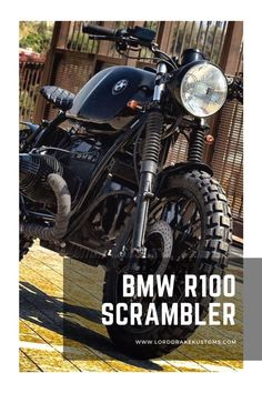 This is a BMW R100 motorcycle customized by Lord Drake Kustoms in a Scrambler style. Honda Scrambler, Triumph Bobber, Cafe Racer Motorcycle, Motorcycle Design, Motorcycle Style, Triumph Scrambler Custom, Concept Motorcycles, Old Motorcycles, Custom Bmw