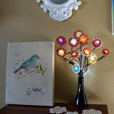DIY Decorations for Girls Room - Light Up Bouquet | Girls Bedroom Decor Ideas AHHH I love fairy lights !!!! Crafts To Make, Fun Crafts, Arts And Crafts, Diy Paper, Paper Crafts, Flower Lights, Fairy Lights, Paper Flowers, Silk Flowers