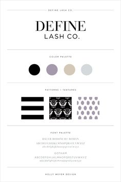 Gorgeous brand style guide for Define Lash Co.
