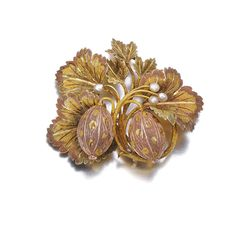 "Gold and seed pearl ""goose berries"" brooch, circa 1840"