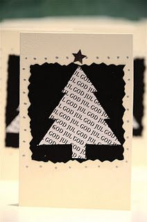 Black & white cardstock Christmas lyrics stamp Tree punch Craft scissors