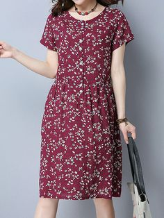 Vintage Floral Print O-neck Short Sleeve Dress For Women is high-quality, see other cheap summer dresses on NewChic. Frock Fashion, Red Fashion, Women's Fashion Dresses, Fashion Models, Casual Dresses, Vintage Fashion, Street Fashion, Womens Fashion, Fashion Socks