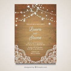 Elegant wedding card with wooden design Free Vector