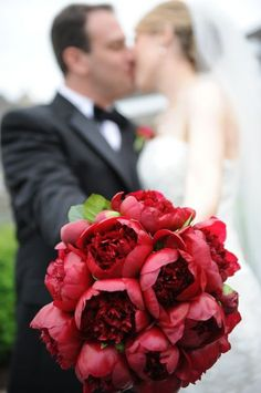 Red Peony Bouquet - nice texture, simple and beautiful. more unique looking than red roses. @Forrest Wilson