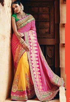 Yellow Banarasi Viscous,Net Designer Saree With Heavy Embroidery Work..@ fashionsbyindia.com #designs #indian #fashion #womens #style #cloths #fashion #stylish #casual #fashionsbyindia #punjabi #suits #saree #wedding