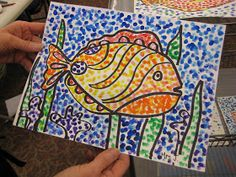 Pointillism Fish - Students us Q-tips to add color to their picture. - Pointillism Fish – Students us Q-tips to add color to their picture. Could do with with other pic - Classroom Art Projects, School Art Projects, Art Classroom, Watercolor Fish, 2nd Grade Art, Ecole Art, Kindergarten Art, Art Programs, Fish Art