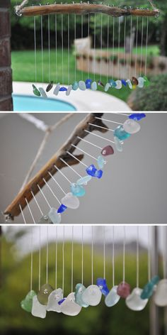 More inspiration, from 'Home Sweet Homemade'… this sea pebble wind chime has such beautiful colors, and I think just listening to it would remind me of the beach!