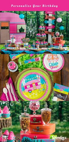 Our exclusive and personalized Camp Glam Supplies will have everything you need. Mix and match our coordinating favors, decorations, activities and cake supplies with our Camp Glam Party Supplies.