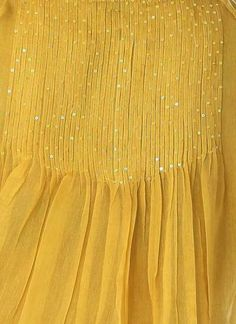 Yellow Cotton Silk Sequin Dress