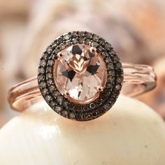 Marropino Morganite and Natural Champagne Diamond Ring in Black Rhodium & Vermeil Rose Gold Over Sterling Silver Morganite Jewelry, Rose Gold Morganite Ring, Double Halo Rings, Champagne Diamond Rings, Black Rhodium, Beautiful Rings, Gold Jewelry, Bracelet Watch, Gemstones