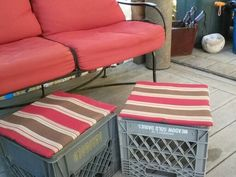 Milk crate seats cushions Milk Crate Seats, Milk Crates, Milk Crate Furniture, Outdoor Furniture Sets, Outdoor Decor, Seat Cushions, Gardening, Projects, Home Decor
