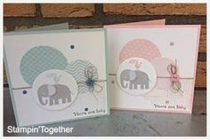 Handmade : Greeting Card : Elephant : Baby Card :