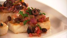 HALIBUT WITH ARTICHOKE AND OLIVE CAPONATA | Giada De Laurentiis http://www.giadadelaurentiis.com/recipes/626/halibut-with-artichoke-and-olive-caponata  ⇨ Follow City Girl at link https://www.pinterest.com/citygirlpideas/ for great pins and recipes!  ☕
