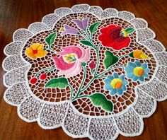 Kalocsa lace (Richelieu) doily with authentic Hungarian embroidery pattern (LACE-KAL-DOI-TR-345) - Hungarian Embroideries & Apparels