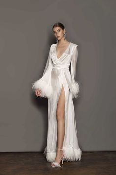 Bridal Robes, Wedding Lingerie, Bridal Dresses, Lingerie Gown, Lace Bridal Robe, Chic Wedding Dresses, Bridal Cape, Wedding Dress With Feathers, Feather Dress