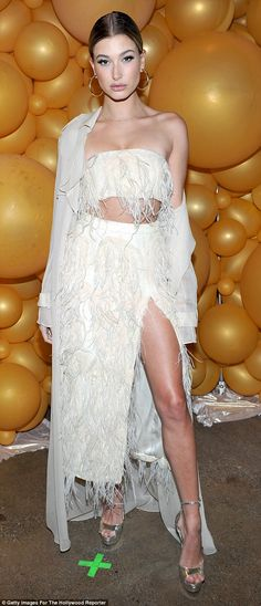 Feel fancy in feathers like Hailey in Sally LaPointe   Click 'visit' to buy it now  #DailyMail