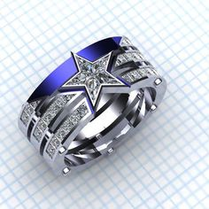 "Another pinner said, ""Captain, my Captain, custom Captain America ring by Paul Michael Design, with palladium, diamonds, and end stones cut to fit. Not to be confused with a Dallas Cowboys ring ;)"" It works either way for me! :-D"