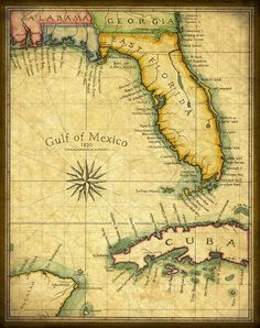 Florida Map Art Print c. 1820 by Geographicsart on Etsy, $27.00