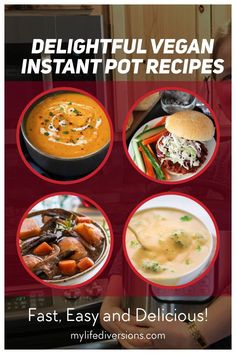Enjoy 23 easy and delicious vegan recipes in your Instant Pot.Try a variety of hot soups (broccoli cheddar, carrot ginger, potato leak, mulligatawny, tomato, lentil and curry), portobello pot roast, cuban black beans, pasta, tasty curries and chilis,smoky lentil sloppy joes, mexican quinoa, lentil risotto with butternut squash, spaghetti and meatballs, stir fry, maple ginger noodles, lo mein, and wild rice dishes. So much versatility with your instant pot. #crockpot #pressurecooker… Vegan Meal Plans, Vegan Meals, Delicious Vegan Recipes, Tasty, Healthy Recipes, Mulligatawny, Mexican Quinoa, Lo Mein, Spaghetti And Meatballs