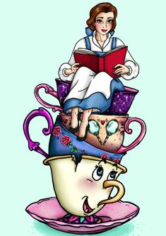 Teacup Belle  Beauty and the Beast  A4 Art Print by HungryDesigns