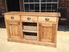 Beautiful handmade wood pine country buffet free plans by ANA-WHITE.com.  I love the cup bin pulls and the drawers and baskets and wood stain!  This buffet is more beautiful than pottery barn or restoration hardware!