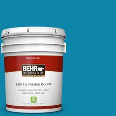 BEHR Premium Plus 5 gal. #P490-6 Hacienda Blue Zero VOC Flat Interior Paint