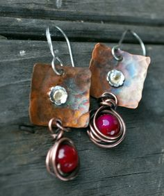Hammered Copper Squares with Sterling  Riveted  Earrings by ORRTEC, $27.00