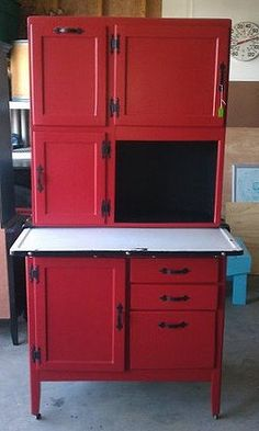 hoosier cabinet...love red!