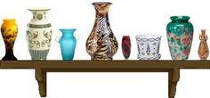 vases on a shelf