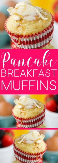 All the goodness of pancakes in . All the goodness of pancakes in one super easy and fun recipe! Add this to your breakfast and brunch recipes board! Healthy Muffin Recipes, Best Breakfast Recipes, Brunch Recipes, Breakfast Ideas, Brunch Foods, Fall Recipes, Pancake Muffins, Breakfast Pancakes, Sweet Breakfast