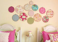 Embroidery hoops. Cute for little girls room