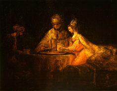 """Рембрандт ван Рейн. """"Артаксеркс, Аман и Эсфирь"""". 1660."""