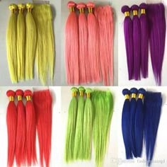 2018 Pure Colored Brazilian Human Hair Bundles With Lace Closure Straight Virgin Remy Hair Weaves Extensions Blue Yellow Red Green Pink From Fashionhairqd, $68.35   Dhgate.Com