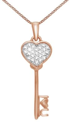 Natural Diamond Accent Heart-Top Key Pendant In 14K Rose Gold Over Sterling Silver. Crafted In 14K Rose Gold Over Sterling Silver. Round Cut White Natural Diamond Having Stunning Clarity Of I2-I3. Makes A Great Gift Or It Is Fabulous For Yourself. This Piece Of Jewelry can be worn on any special occasion So Order it now and add elegance to your look. Note: Due to the difference between different monitors, the picture may not reflect the actual color of the item. We guarantee the style is…