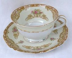 Noritake Pattern N129 Cup and Saucer Set Footed 2 1/4
