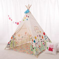 Lovely Cartoon Kids Teepee Four Poles Children Play Tent Cotton Canvas Baby Tipi Tent Flowers Printed Play House for Baby Room _ {categoryName} - AliExpress Mobile Version - Kids Canopy, Kids Tents, Teepee Kids, Teepees, Canvas Teepee Tent, Teepee Play Tent, Modern Playhouse, Childrens Teepee, Kids Corner