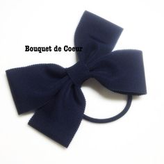 ハンドメイドヘアアクセ♡オフィスリボンゴム♡ネイビー Handmade ribbon hair accessory
