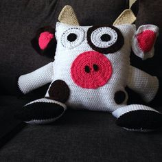 crochet cow pillow