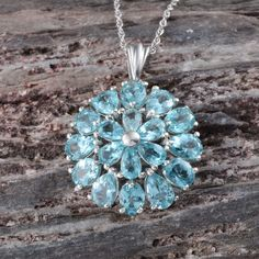 Madagascar Paraiba Apatite Pendant with Chain in Platinum Overlay Sterling Silver (Nickel Free)