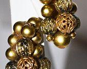 Gold Cluster Beaded Earrings