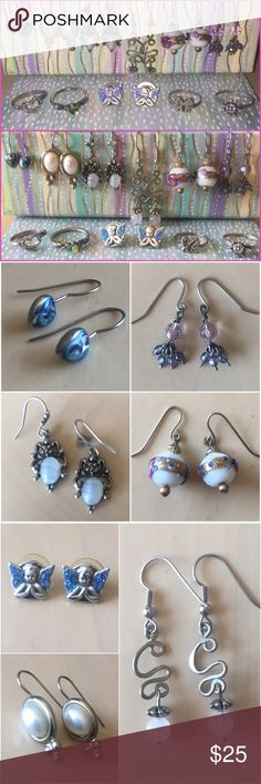Silver jewelry bundle Six pairs of dangly silver earrings, three silver rings and cherub studs with blue sparkly angel wings. All 10 pieces for $25!! Price is firm 😍💜💍💕 Jewelry