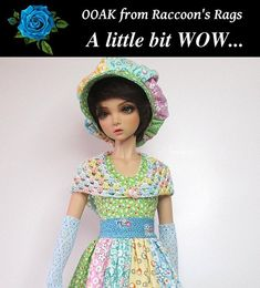 OOAK set for Iplehouse JID resin BJD MSD. Patchwork Perfection.  A WOW outfit from Raccoon's Rags