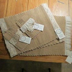 Burlap and Lace placemats with matching silverware pocket/napkin holder by LostinTimeNaturals: Burlap Flowers, Burlap Lace, Hessian, Sewing Hacks, Sewing Crafts, Sewing Projects, Table Runner And Placemats, Table Runners, Burlap Projects