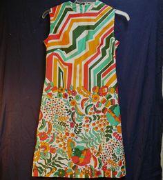 Vintage Lanvin Dress Geometric & Floral Crazy Colorful Sleeveless  Sz 12 #Lanvin #Shift