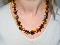 Unique Handmade in Poland Baltic Amber Necklace, natural organic amber jewelry